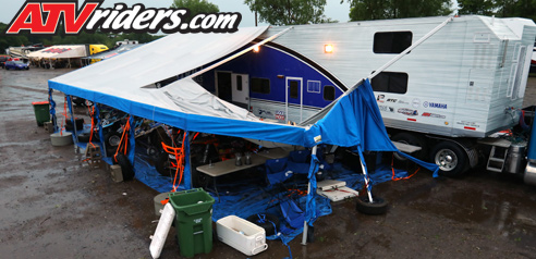 The Mills 3 Racing Team Awning Was Damaged From 70 MPH Winds But They Are Looking To Get Everything Fixed And Ready Crandon