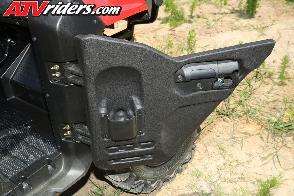 The Honda Pioneer 700 Automotive Style Doors Feature An Easy To Use  Latching System With A Built In Cup Holder