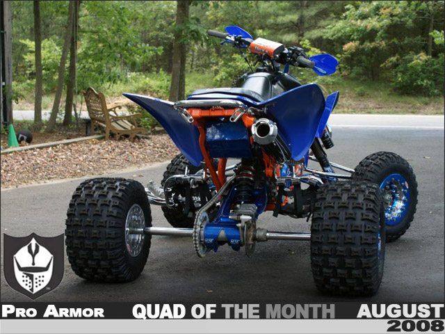 Blue and Orange Honda TRX450R ATV